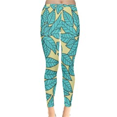 Leaves Dried Leaves Stamping Inside Out Leggings by Nexatart