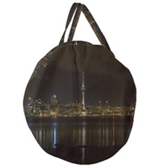 City River Water Cityscape Skyline Giant Round Zipper Tote