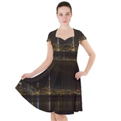 City River Water Cityscape Skyline Cap Sleeve Midi Dress