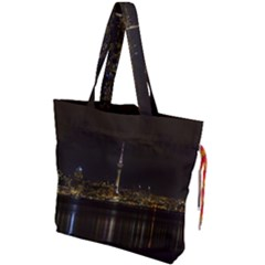 City River Water Cityscape Skyline Drawstring Tote Bag by Nexatart