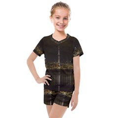 City River Water Cityscape Skyline Kids  Mesh Tee And Shorts Set
