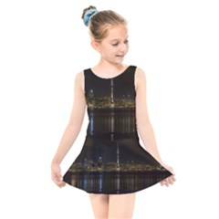 City River Water Cityscape Skyline Kids  Skater Dress Swimsuit