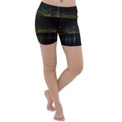 City River Water Cityscape Skyline Lightweight Velour Yoga Shorts by Nexatart
