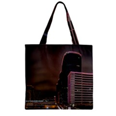 Hong Kong At Night Skyline Zipper Grocery Tote Bag