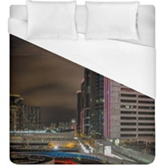Hong Kong At Night Skyline Duvet Cover (king Size)
