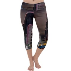 Hong Kong At Night Skyline Capri Yoga Leggings