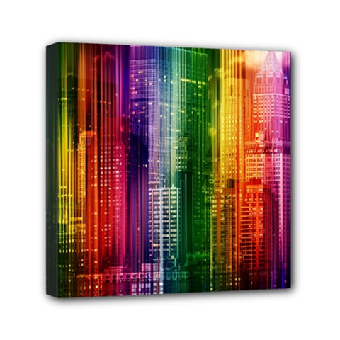 Skyline Light Rays Gloss Upgrade Mini Canvas 6  X 6  (stretched)