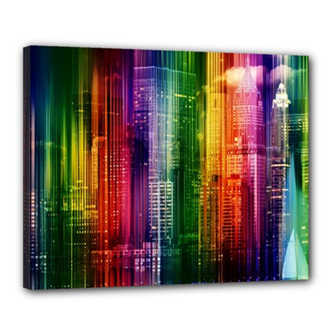 Skyline Light Rays Gloss Upgrade Canvas 20  X 16  (stretched)