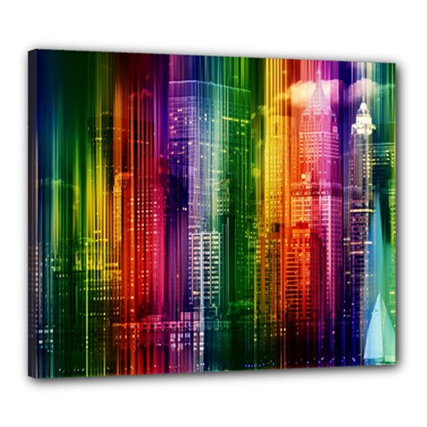Skyline Light Rays Gloss Upgrade Canvas 24  X 20  (stretched)