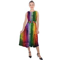 Skyline Light Rays Gloss Upgrade Midi Tie Back Chiffon Dress