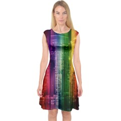 Skyline Light Rays Gloss Upgrade Capsleeve Midi Dress