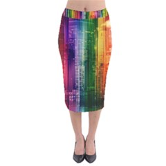 Skyline Light Rays Gloss Upgrade Velvet Midi Pencil Skirt
