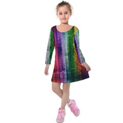Skyline Light Rays Gloss Upgrade Kids  Long Sleeve Velvet Dress
