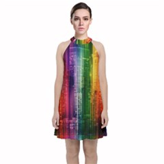 Skyline Light Rays Gloss Upgrade Velvet Halter Neckline Dress
