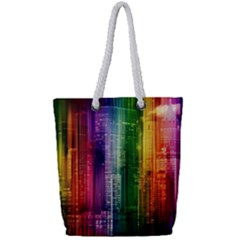 Skyline Light Rays Gloss Upgrade Full Print Rope Handle Tote (small)