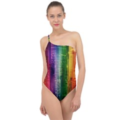 Skyline Light Rays Gloss Upgrade Classic One Shoulder Swimsuit