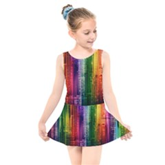 Skyline Light Rays Gloss Upgrade Kids  Skater Dress Swimsuit