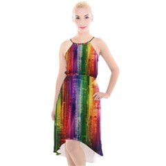 Skyline Light Rays Gloss Upgrade High Low Halter Chiffon Dress