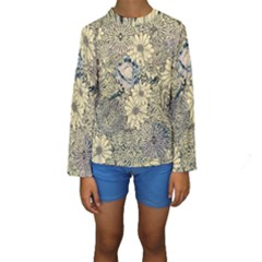 Abstract Art Artistic Botanical Kids  Long Sleeve Swimwear