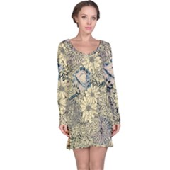 Abstract Art Artistic Botanical Long Sleeve Nightdress