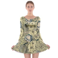 Abstract Art Artistic Botanical Long Sleeve Skater Dress