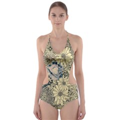 Abstract Art Artistic Botanical Cut Out One Piece Swimsuit