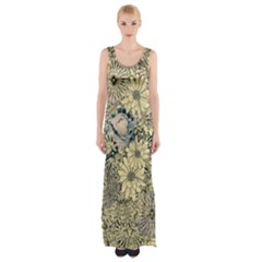 Abstract Art Artistic Botanical Maxi Thigh Split Dress