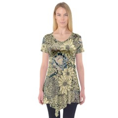 Abstract Art Artistic Botanical Short Sleeve Tunic