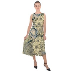 Abstract Art Artistic Botanical Midi Tie Back Chiffon Dress