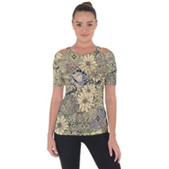 Abstract Art Artistic Botanical Shoulder Cut Out Short Sleeve Top
