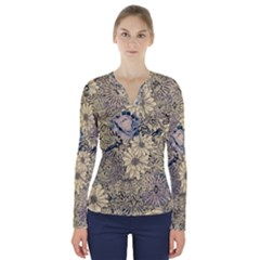 Abstract Art Artistic Botanical V Neck Long Sleeve Top