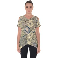 Abstract Art Artistic Botanical Cut Out Side Drop Tee