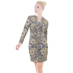 Abstract Art Artistic Botanical Button Long Sleeve Dress