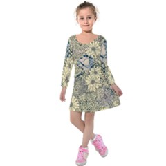 Abstract Art Artistic Botanical Kids  Long Sleeve Velvet Dress