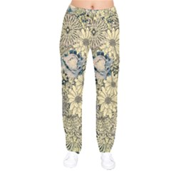 Abstract Art Artistic Botanical Velvet Drawstring Pants