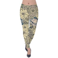 Abstract Art Artistic Botanical Velvet Leggings