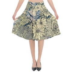 Abstract Art Artistic Botanical Flared Midi Skirt
