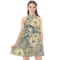 Abstract Art Artistic Botanical Halter Neckline Chiffon Dress