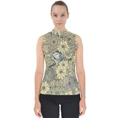 Abstract Art Artistic Botanical Mock Neck Shell Top
