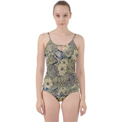 Abstract Art Artistic Botanical Cut Out Top Tankini Set