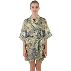 Abstract Art Artistic Botanical Quarter Sleeve Kimono Robe