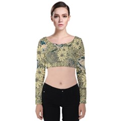 Abstract Art Artistic Botanical Velvet Long Sleeve Crop Top
