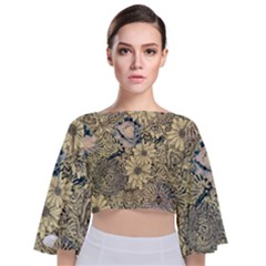 Abstract Art Artistic Botanical Tie Back Butterfly Sleeve Chiffon Top