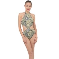 Abstract Art Artistic Botanical Halter Side Cut Swimsuit