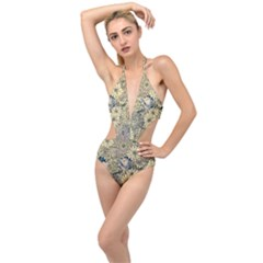 Abstract Art Artistic Botanical Plunging Cut Out Swimsuit