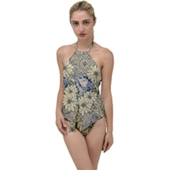 Abstract Art Artistic Botanical Go With The Flow One Piece Swimsuit