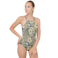 Abstract Art Artistic Botanical High Neck One Piece Swimsuit