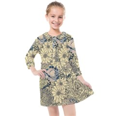 Abstract Art Artistic Botanical Kids  Quarter Sleeve Shirt Dress
