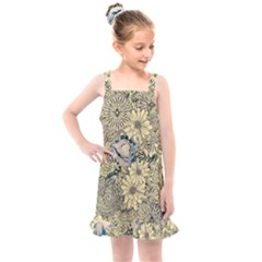 Abstract Art Artistic Botanical Kids  Overall Dress