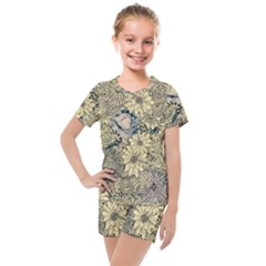 Abstract Art Artistic Botanical Kids  Mesh Tee And Shorts Set